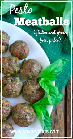 Pesto Meatballs (gluten and grain free, #paleo)