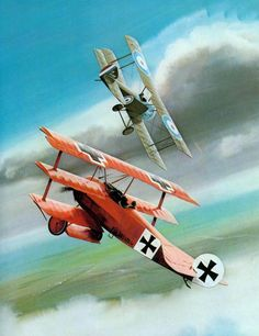 The Red Dr.1 from Van Richthofen in a dogfight with a SE.5A. C Thijs Postma
