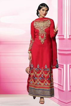 Red Georgette Designer Suit