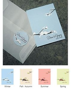 Love Bird Blank Note Card (Set of 6 - 4 Colors) from Wedding Favors Unlimited