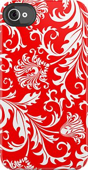 White And Red Vintage Floral Damask Pattern