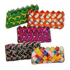 Candy Wrapper Clutches :) www.gingerbreadinsurance.com