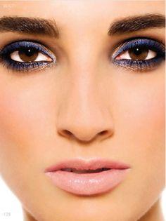 brown eyes, blue make up