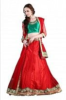 Multicolor Net Embroidered Unstiched Lehenga Choli And Dupatta set