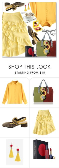 """""""Ruffles Skirt, Statement Bags (Casual Chic)"""" by jecakns ❤ liked on Polyvore featuring Dsquared2, Topshop, Estée Lauder and Lime Crime"""