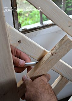 """A nice screen door really adds to curb appeal. This """"Chippendale"""" wood screen door tutorial can help you build your own for a fraction of the cost of new! Large Gazebo, Screened Gazebo, Hot Tub Gazebo, Wood Screen Door, Screen Doors, Front Doors, Red Cottage, Diy Door, Diy Home Improvement"""
