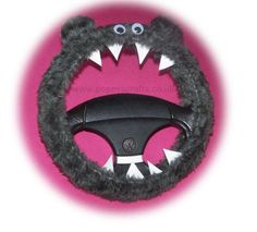 Fuzzy faux fur grey monster steering wheel cover fluffy furry...