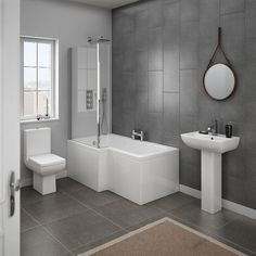 Shop the stunning Milan Modern Shower Bath Suite online. Supplied in left and right hand options. Now available from Victorian Plumbing.co.uk.