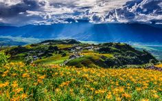 Download wallpapers China, village, mountains, summer, Taiwan, Asia, HDR
