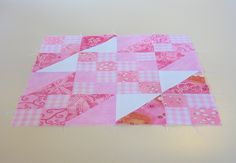 "A traditional block pattern called ""Sunny Lanes"" pieced by Pam Wilson in September 2014, incorporating gingham and other fabrics from the stash of my aunt Johanna Wackerle Tanner."