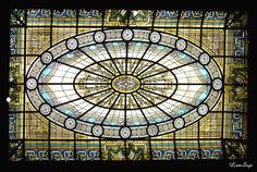 Stained glass ceiling in the Casa de Cultura Julieta de Serpa - Rio de Janeiro - Brazil