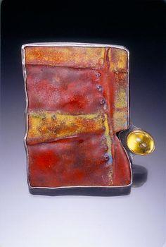 "Leni Fuhrman,Red Carapace,Materials: Enamel, copper, fine & sterling silver, 22K gold, golden beryl Dimensions: 2"" X 1 3/4"" X 1/4""  Brooch; Torch-fired enamel on fold-formed copper; Setting: fine & sterling silver, 22K gold, fabricated"
