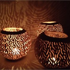First light from some Coconut shell tea light candle covers recently bought back from Bali.