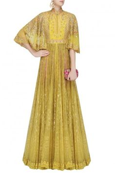 Yellow floral embroidered cape sleeves gown with pink pants available only at Pernia& Pop Up Shop. Latest Designer Sarees, Designer Dresses, Pakistani Outfits, Indian Outfits, Salwar Kameez, Churidar, Look Short, Indian Ethnic Wear, Indian Style
