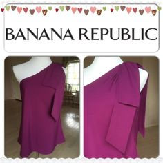 XMAS SALE  HP One Shoulder Blouse Color: Purple. Shell and lining: 100% polyester. One shoulder style with overlapping style on left shoulder, back to back. Banana Republic Tops Blouses