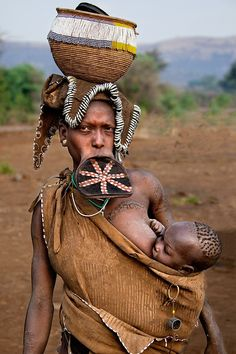Mursi Mother and Child - Ethiopia, Africa
