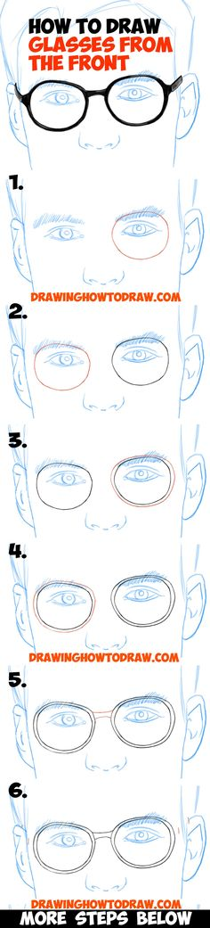 How to Draw Glasses on a Face from the Front View in Easy Step by Step Drawing Tutorial for Kids and Beginners
