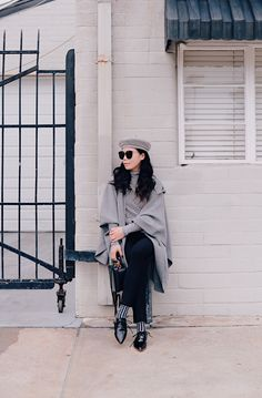 HallieDaily, Style, Street Style, Outfit, Nordstrom, Collaboration, Burberry, Cape, HUE Denim Leggins, Pointed Toe Oxfords, Brixton Buret, Gentle Monster Sunglasses, J.Crew Stripe Turtleneck Top, Mark Cross Box Bag, Marni Socks, Neutral Lip Gloss