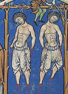 Braies, 13thC. Later middle ages as here, worn as undergarment, probably linen, possible cotton. Previous worn as pants of wool, leather by celtic men.