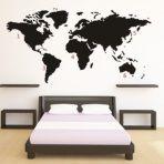 World Map Muursticker - Zwart