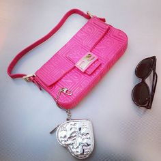 b903035f47 Fendi Baguette pink embossed nappa leather w gold hardwarw condition good  ,with dust bag .