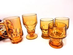 Amber Glass Barware Vintage 1960's Anchor Hocking and Continental Thumbprint…