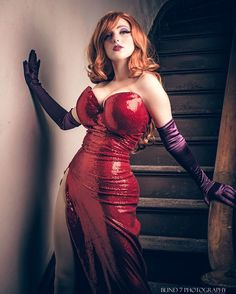 Morgan 👄 (gorgeous model) as a cosplay girl (in sensual red dress for Jessica Rabbit's dress).