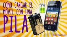Cómo cargar el móvil o celular con una pila y un cargador de coche, pila 9v…