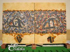 """""""Los ojos de Pollok"""", Pedro Monje. Técnica mixta sobre madera. Dimensiones: 170 x 115 cm"""