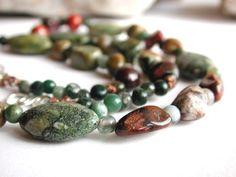 Rhyolite and Jasper Gemstone Beaded Necklace Green Red and Earth Tones | PebblesatmyFeet - Jewelry on ArtFire