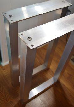 Metal Table Legs, Aluminum, Square, SET of 2 Frame Legs, Natural Finish Legs