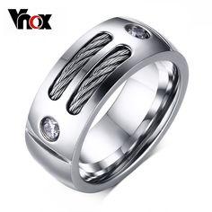 Vnox 남성 반지 스테인레스 스틸 펑크 링 와이어 큐빅 지르코니아 파티 보석 미국 크기