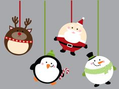 Circle punch art Christmas pudgies - Reindeer, Santa, Penguin, Snowman - bjl