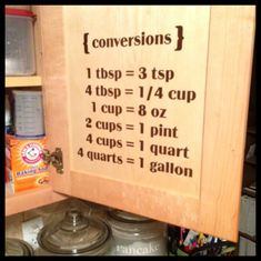 Vinyl Wall Decal - Kitchen Conversion Chart, {conversions} 1 tbsp = 3 tsp 4 tbsp = cup 1 cup = 8 oz 2 cups = 1 pint 4 cups = 1 quart 4 quarts = 1 gallon wall decal - add hooks for measuring cups Kitchen Wall Decals, Vinyl Wall Decals, Kitchen Vinyl, Kitchen Hacks, Kitchen Decor, Kitchen Conversion, Metric Conversion, Kitchen Measurements, Do It Yourself Home