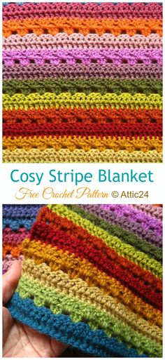 Captivating All About Crochet Ideas. Awe Inspiring All About Crochet Ideas. Granny Stripe Crochet, Crotchet Blanket, Granny Stripe Blanket, Crochet Throw Pattern, Striped Crochet Blanket, Afghan Crochet Patterns, Crochet Afghans, Attic 24 Crochet, Scrap Yarn Crochet