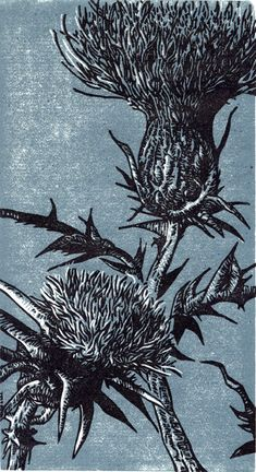 Life Among the Thistles - Reduction Linoleum Block Print by Tyrus Clutter, 2009