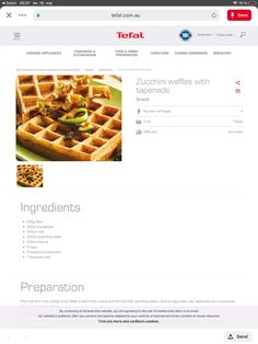 Zucchini Waffles, Tapenade, Kitchenware, Snacks, Cooking, Breakfast, Easy, Collection, Food