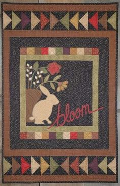 """Primitive Folk Art Pattern -- Bloom by Cottage Creek Quilts - Spring Bunny Wall hanging - 24 x 38"""""""