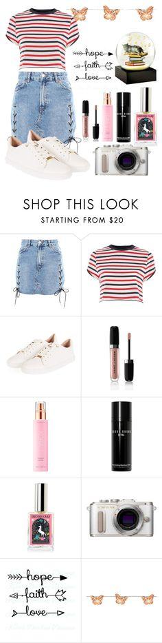 """Denim Skirt"" by fun-me ❤ liked on Polyvore featuring Topshop, Marc Jacobs, KORA Organics by Miranda Kerr, Bobbi Brown Cosmetics, PL8, Harrods, Cool Snow Globes and denimskirt"
