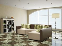 Zementfliesen im Wohnzimmer als #Bodenfliesen.
