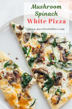Mushroom Spinach White Pizza - Homemade white pizza recipe that takes less than 30 minutes to make! Creamy ricotta with sautéed mushroom and spinach is match made in heaven. It definitely will be a pleasant switch up from your ordinary red sauce pizza. Mushroom Pizza Recipes, White Pizza Recipes, Spinach Pizza, Veggie Pizza, Pizza Pizza, Appetizer Recipes, Dinner Recipes, Appetizers, Vegetarian Pizza Recipe