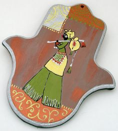 Decorative hand painted hamsa of African woman painted by Galleros, $22.00