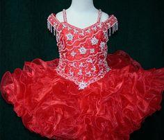 So Lovely Red Flower Girls Dress Beaded Straps Ball by DressOnly, $85.00