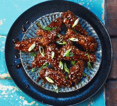 Cook an exotic yet easy dinner like these spicy and sticky Korean chicken wings. They make ideal finger food for a buffet, but don't forget the napkins Chicken Recipes Bbc, Best Fried Chicken Recipe, Fried Chicken Burger, Homemade Fried Chicken, Making Fried Chicken, Bbc Good Food Recipes, Wing Recipes, Cooking Recipes, Chicken Meals
