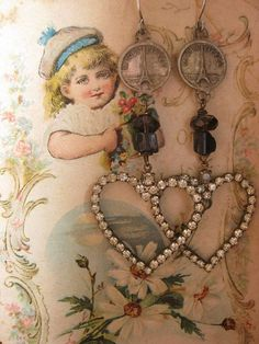 love in Paris antique rhinestone Paris French by RedbirdJewelry, $88.00