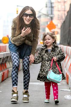 Sarah Jessica Parker picks up her daughters Tabitha and Loretta from preschool on March 12, 2014