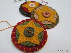Folk Art Stars, Wool Felt Ornaments, Fall Season, Gold, Brown, Forest Green, Country Red, with Buttons, Set of 3
