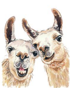 5x7 Llama Watercolor - Watercolour PRINT, Selfie, Funny Painting, Nursery Art