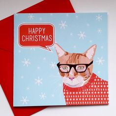 Ginger Cat with Glasses Christmas Card by JayneyMac on Etsy