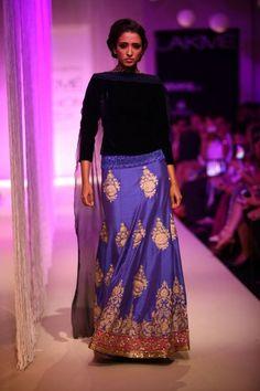 Lakme Winter 2013 Manish Malhotra blue slim cut lehnga with black turtleneck